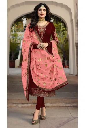 Kritika Kamra Marvelous Maroon Embroidered And Stone Work Georgette Satin Salwar Kameez With Net Dupatta