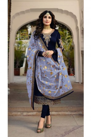 Kritika Kamra Navy Blue Embroidered And Stone Work Georgette Satin Salwar Suit With Net Dupatta
