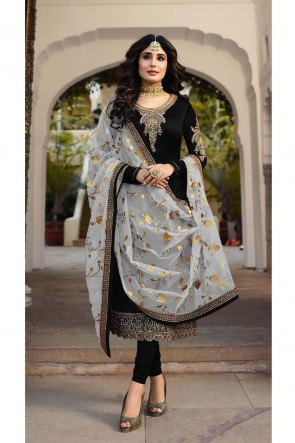 Kritika Kamra Gorgeous Black Embroidered And Stone Work Georgette Satin Salwar Suit With Net Dupatta