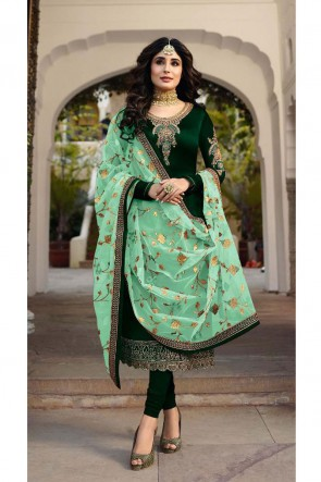 Kritika Kamra Delightful Green Embroidered And Stone Work Georgette Satin Salwar Suit With Net Dupatta