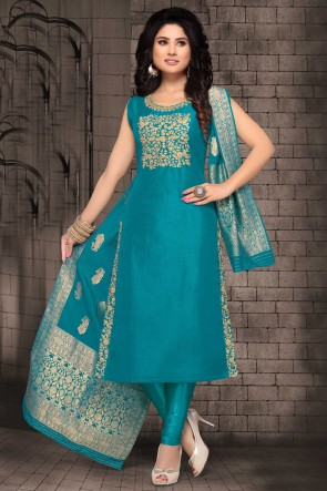 Charming Bhagalpuri Silk Rama Zari Work Designer Casual Salwar Suit And Lycra Bottom