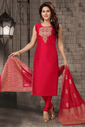 Zari Work Red Bhagalpuri Silk Fabric Casual Salwar Kameez And Lycra Bottom