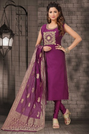 Violet Bhagalpuri Silk Zari Work Designer Casual Salwar Suit With Brocade Dupatta