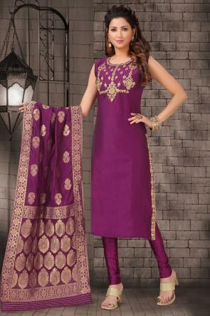 Bhagalpuri Silk Violet Zari Work Designer Casual Salwar Suit With Brocade Dupatta