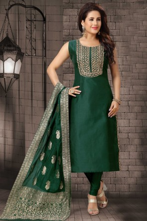 Bhagalpuri Silk Fabric Zari Work Green Casual Salwar Kameez With Brocade Dupatta