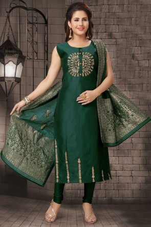 Party Wear Green Bhagalpuri Silk Zari Work Casual Salwar Kameez With Brocade Dupatta