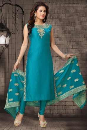 Sky Blue Zari Work Bhagalpuri Silk Fabric Casual Salwar Suit With Brocade Dupatta