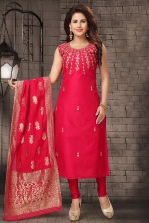 Beautiful Red Bhagalpuri Silk Zari Work Designer Casual Salwar Suit With Brocade Dupatta