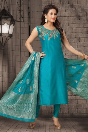 Turquoise Zari Work Bhagalpuri Silk Fabric Casual Salwar Kameez With Brocade Dupatta