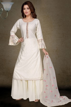 Brocade Fabric White Embroidery Work Casual Plazzo Suit With Net Dupatta