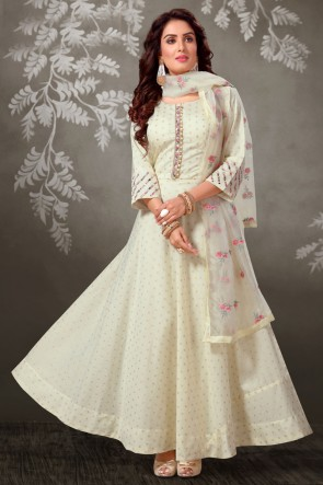 Off White Embroidered Brocade Fabric Casual Anarkali Suit And Art Silk Bottom