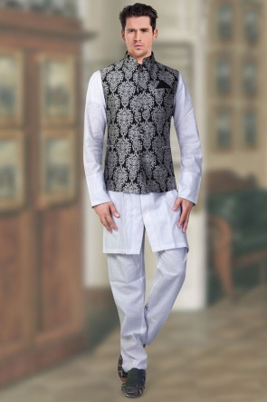 Black And Silver Brocade Fabric Only Jacket