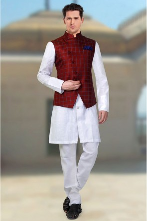 Pleasing Red Jacquard Fabric Only Jacket