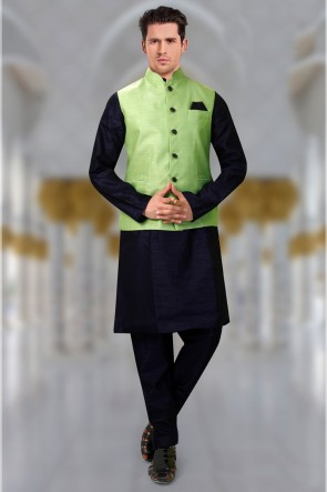 Lovely Green Silk Fabric Hand Work And Embroidered Indo Western With Dhupion Bottom