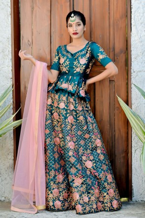 Marvelous Blue Embroidered Silk Lehenga Choli With Net Dupatta