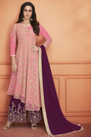 Pink Embroidered Net Salwar Suit With Georgette Dupatta