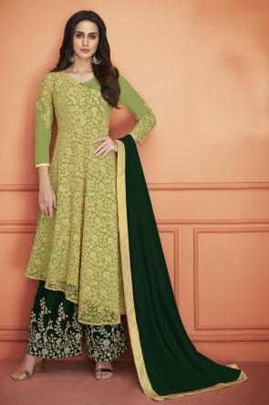 Marvelous Green Embroidered Net Salwar Kameez With Georgette Dupatta