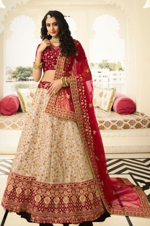 Excellent Silk Beige Embroidered And Stone Work Lehenga Choli And Dupatta