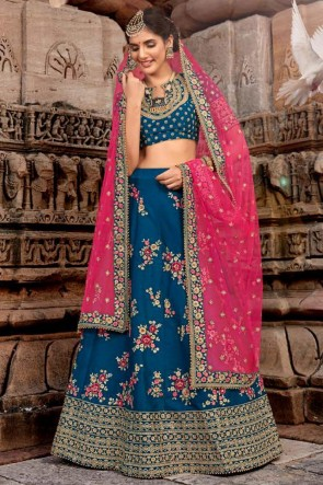 Blue Embroidered And Stone Work Designer Silk Lehenga Choli With Net Dupatta