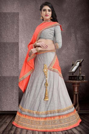 Grey Jacquard Fabric Weaving And Stone Work Designer Lehenga Choli With Chiffon Dupatta