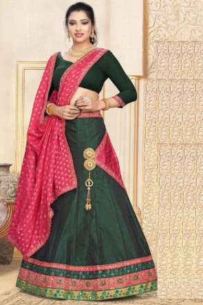 Satin Fabric Lace Work And Embroidered Designer Green Lehenga Choli And Dupatta