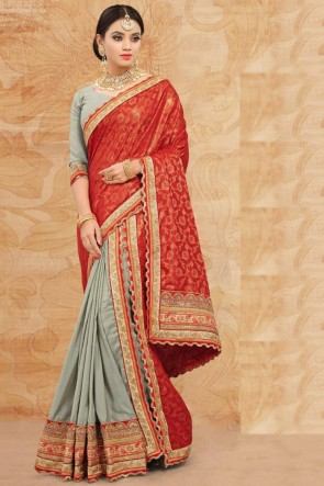 Weaving Work And Lace Work Grey And Red Silk Fabric Saree And Blouse