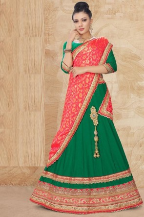 Lace Work And Stone Work Green Satin Fabric Lehenga Choli And Dupatta
