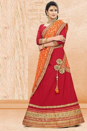 Red Stone Work And Lace Work Designer Satin Fabric Lehenga Choli And Dupatta