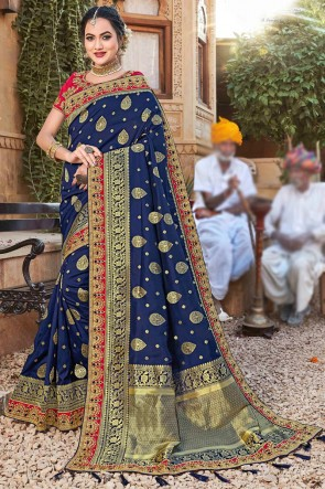 Heavy Designer Embroidered And Weaving Work Navy Blue Weaving Silk Fabric Saree And Blouse