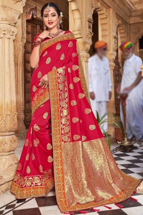 Weaving Work And Embroidered Red Weaving Silk Fabric Beautiful Saree And Blouse