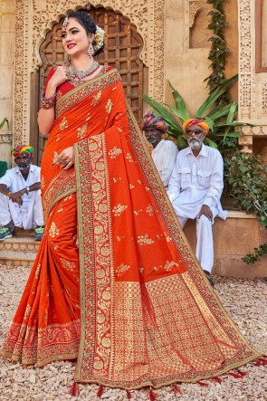 Desirable Weaving Silk Fabric Orange Stone Work And Weaving Work Saree And Blouse