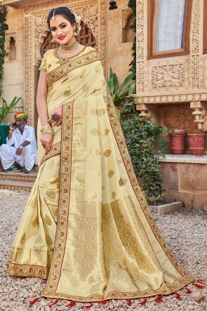 Cream Stone Work And Weaving Work Weaving Silk Fabric Saree And Blouse