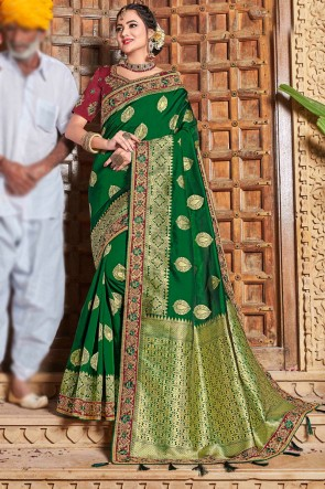 Green Weaving Work And Embroidered Weaving Silk Fabric Saree And Blouse