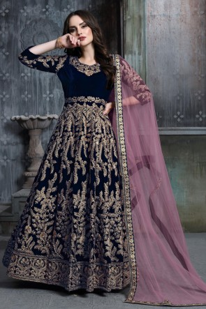 Designer Navy Blue Embroidered And Stone Work Velvet Anarkali Suit With Net Dupatta