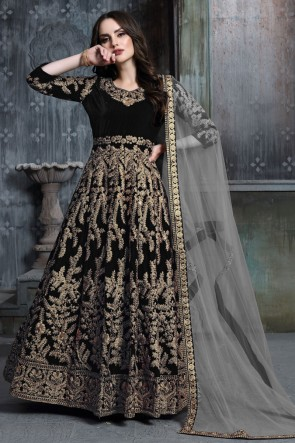 Beautiful Black Embroidered And Stone Work Designer Velvet Anarkali Suit With Net Dupatta