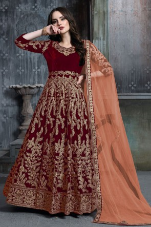 Charming Maroon Embroidered And Stone Work Velvet Anarkali Suit With Net Dupatta
