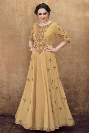 Embroidered Designer Beige Rayon Fabric Long Length Gown