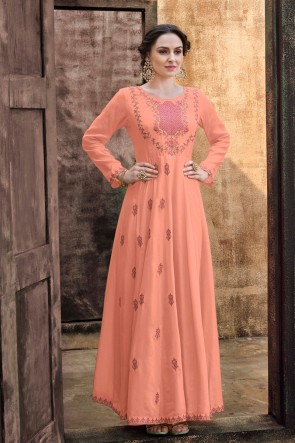 Rayon Fabric Peach Embroidered Stylish Gown