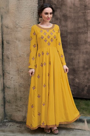 Embroidered Yellow Rayon Fabric Superb Gown