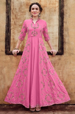 Lovely Pink Rayon Fabric Embroidered Designer Gown