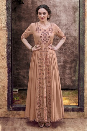 Marvelous Khaki Embroidered Designer Rayon Fabric Gown