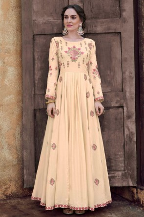 Party Wear Embroidered Cream Rayon Fabric Gown