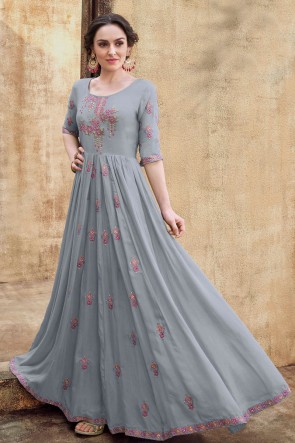 Grey Rayon Embroidered Excellent Gown