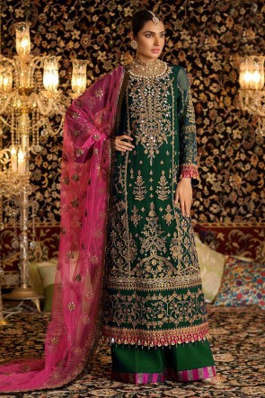 Marvelous Green Embroidered Faux Georgette Plazzo Suit With Net Dupatta
