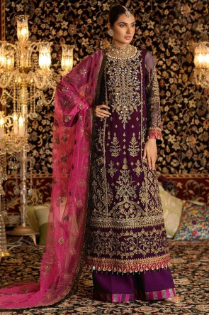 Delightful Magenta Embroidered Faux Georgette Plazzo Suit With Net Dupatta
