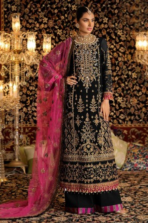 Black Embroidered Faux Georgette Plazzo Suit With Net Dupatta