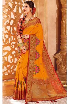 Optimum Weaving Work Orange Silk Fabric Saree And Blouse