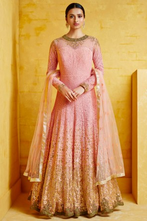 Embroidered Pink Georgette Fabric Abaya Style Anarkali Suit With Net Dupatta
