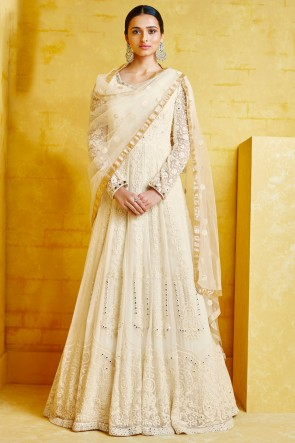Party Wear Embroidered Off White Georgette Fabric Abaya Style Anarkali Suit With Net Dupatta