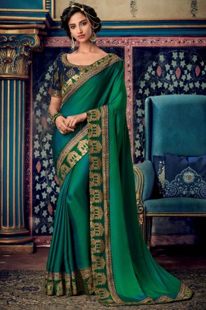 Sea Green Embroidered And Zari Work Designer Art Silk Fabric Lovely Saree And Blouse
